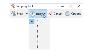 snipping tool - Delay
